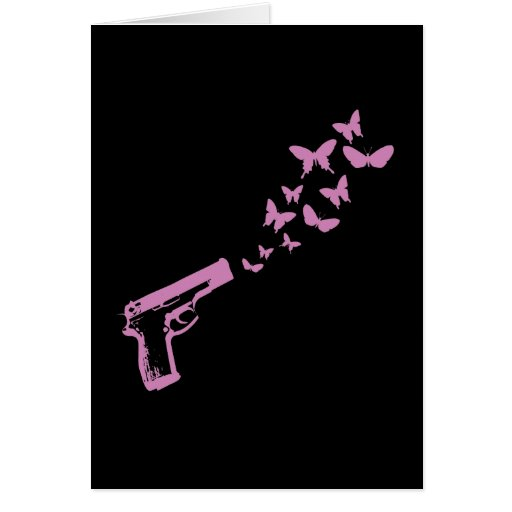 BUTTERFLY BULLETS (PINK) GREETING CARDS