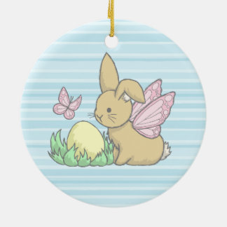 Butterfly Bunny and the Easter Egg Ceramic Ornament