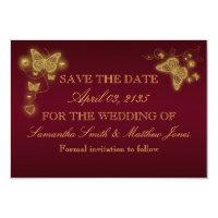 Butterfly burgundy gold wedding response card (<em>$1.96</em>)