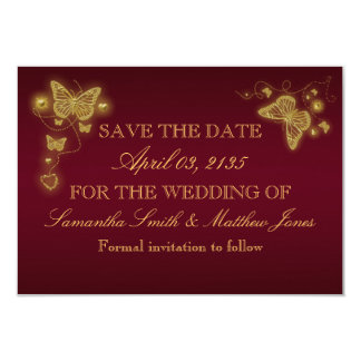 Butterfly burgundy gold wedding response card