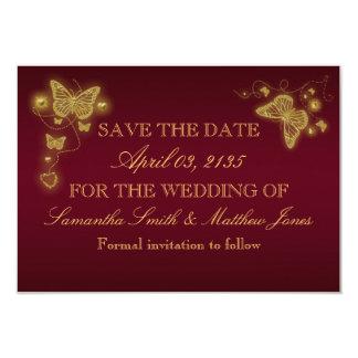 "Butterfly burgundy gold wedding response 3.5"" x 5"" invitation card"