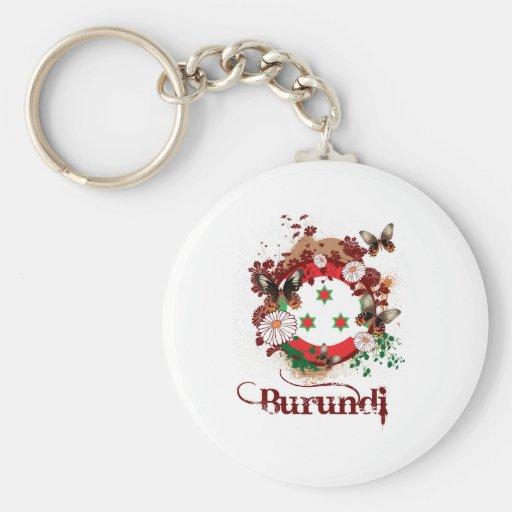 Butterfly Burundi Basic Round Button Keychain