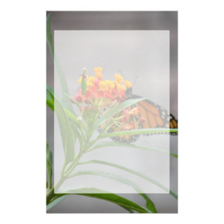 butterfly bush monarch behind . stationery