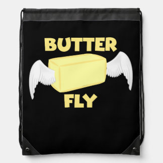 Butterfly Butter Fly Funny Food Puns Food Dad Joke Drawstring Bag