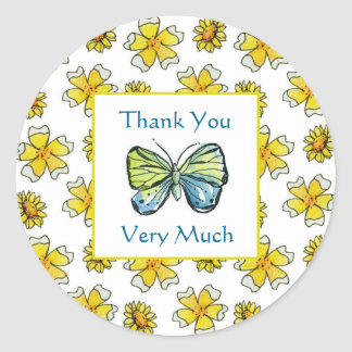Butterfly Buttercup Watercolor Flowers Thank You Classic Round Sticker
