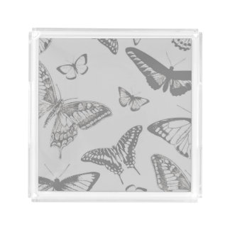 Butterfly (Butterflies), Insects - Pale Gray Square Serving Trays