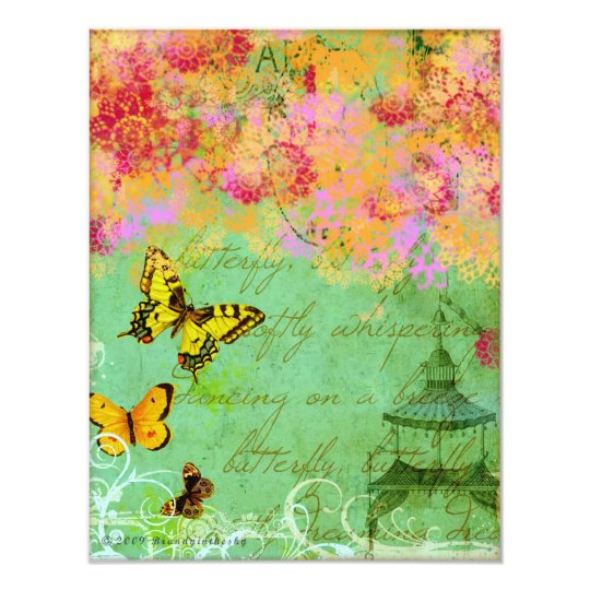 Butterfly, Butterfly Collage Art Invitations