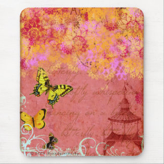 Butterfly, Butterfly Pink Collage Art Mouse Pad