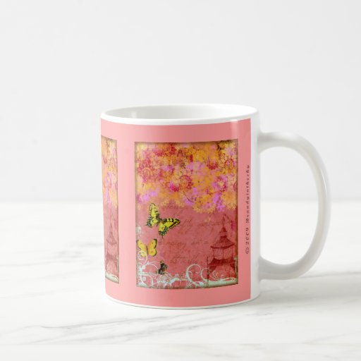 Butterfly, Butterfly Pink Collage Art Mugs