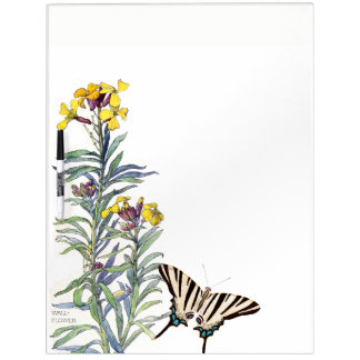 Butterfly Cabbage Flowers Dry Erase Board
