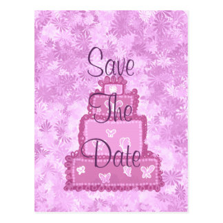 Butterfly Cake Save The Date Postcard