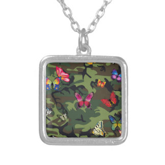 butterfly camouflage silver plated necklace