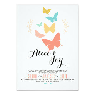 Butterfly Canvas Lesbian Wedding Invitation