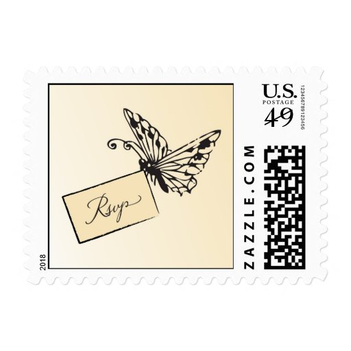 Butterfly carrying rsvp response card stamp