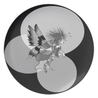 Butterfly Cartoon Unusual Monochromatic Abstract Plate