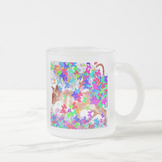 butterfly cat frosted glass coffee mug