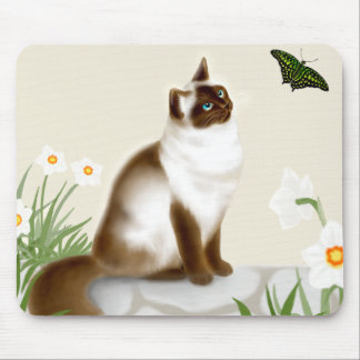 Butterfly Cat in Daffodil Garden Mousepad