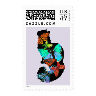 Butterfly Cat Postage Stamps