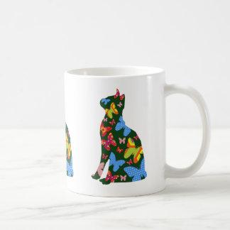 Butterfly Cat Silhouette Mug / Green