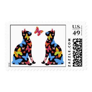 Butterfly Cat Silhouette Postal Stamps / Black