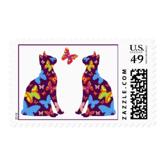 Butterfly Cat Silhouette Postal Stamps / Purple
