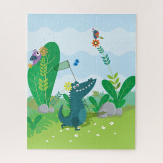 Butterfly Catching Gator 16 x 20 Puzzle w/Gift Box