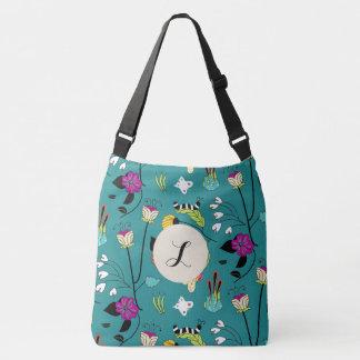 Butterfly caterpillar flowers bag teal