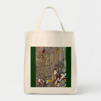 Butterfly Cats Organic Grocery Tote Grocery Tote Bag