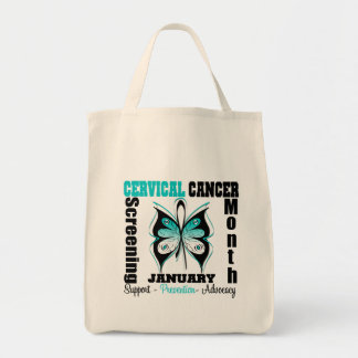 Butterfly Cervical Cancer Screening Month Canvas Bags