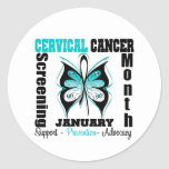 Butterfly Cervical Cancer Screening Month Round Stickers