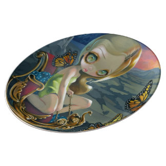 """Butterfly Chariot"" Plate Porcelain Plate"
