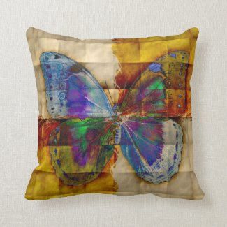 Butterfly - Checkered Antique Background Throw Pillows