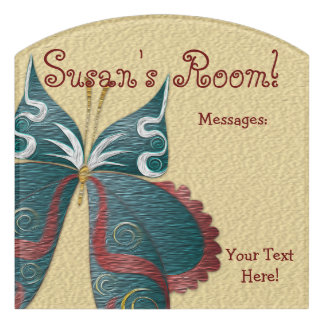 Butterfly Child or Dorm Room Message Board Sign 3 Door Sign
