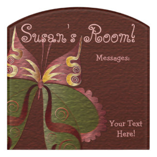 Butterfly Child or Dorm Room Message Board Sign 4 Door Sign