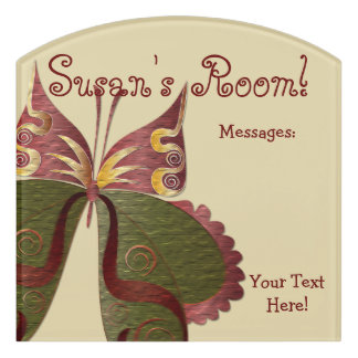 Butterfly Child or Dorm Room Message Board Sign 4C Door Sign