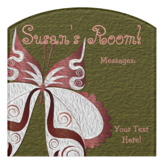 Butterfly Child or Dorm Room Message Board Sign 5 Door Sign