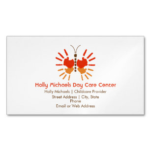 Childcare business cards zazzle butterfly childcare magnetic business cards colourmoves