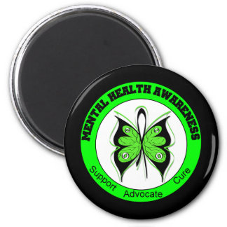 Butterfly Circle Mental Health Awareness 2 Inch Round Magnet