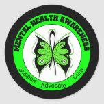 Butterfly Circle Mental Health Awareness Round Stickers