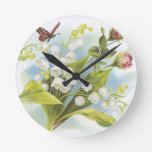 Butterfly clock with roses and lily of the valley