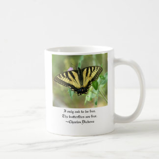 Butterfly Coffee Mug w/ Charles Dicken's Quote