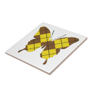 Butterfly Collage Argyle Small Square Tile