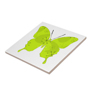 Butterfly Collage Atomic Green Small Square Tile