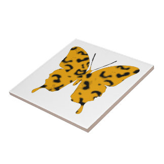 Butterfly Collage Leopard Small Square Tile