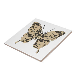 Butterfly Collage Neutral Damask Small Square Tile
