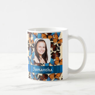 Butterfly collage photo template classic white coffee mug