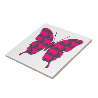 Butterfly Collage Pink Cows Small Square Tile