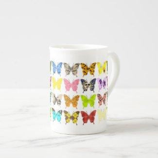Butterfly Collage Porcelain Mugs