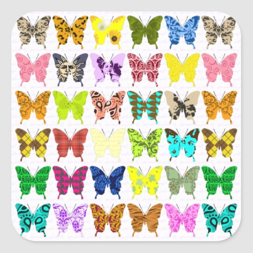 Butterfly Collage Square Sticker