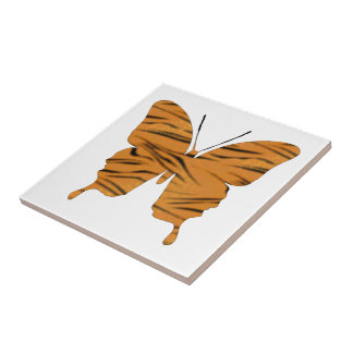 Butterfly Collage Tiger Stripes Small Square Tile